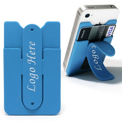 Silicone Mobile Card Pocket with a Phone Stand